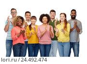 international group of happy smiling people. Стоковое фото, фотограф Syda Productions / Фотобанк Лори
