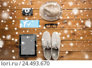 Купить «gadgets and traveler personal stuff», фото № 24493670, снято 8 февраля 2016 г. (c) Syda Productions / Фотобанк Лори