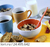 Купить «Breakfast, coffee cups, Müslischale, Bread,   Breakfast table, cups, coffee, peels, Müsli, milk, milk bottle, breakfasts, nutrition healthy, quietly life, fact reception,», фото № 24495642, снято 19 августа 2018 г. (c) mauritius images / Фотобанк Лори