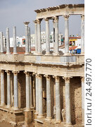 Купить «Spain, ex-diaeresis dura, Merida, Teatro Romano, detail, amphitheatre, theatre, Roman, pillars, remains, archeology, place of interest, culture, destination, tourism, UNESCO-world cultural heritage,», фото № 24497770, снято 14 марта 2008 г. (c) mauritius images / Фотобанк Лори