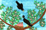 Illustration, blackbird couple, tree, nest,, иллюстрация № 24503138 (c) mauritius images / Фотобанк Лори