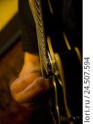Купить «Guitarist, medium close-up, detail, blues in the Soho, London, Great Britain,», фото № 24507594, снято 8 декабря 2009 г. (c) mauritius images / Фотобанк Лори