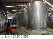 Бродильные чаны из нержавеющей стали для вина. Винодельня Санта Рита (Santa Rita). Чили (2014 год). Редакционное фото, фотограф Free Wind / Фотобанк Лори