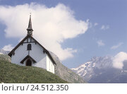 Купить «Switzerland, Valais, Belalp, band, summer, Europe, mountain landscape, mountains, church, faith, religion, destination, place of interest, rest, silence, Idyll, cloudy sky», фото № 24512350, снято 16 июня 2004 г. (c) mauritius images / Фотобанк Лори
