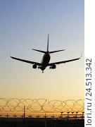 Купить «Germany, Echterdingen (town), airport, silhouette, airplane, evening mood,», фото № 24513342, снято 23 апреля 2019 г. (c) mauritius images / Фотобанк Лори
