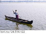 Купить «Man, boat, Backwaters, Kochi, India, Kerala,», фото № 24514122, снято 2 февраля 2010 г. (c) mauritius images / Фотобанк Лори