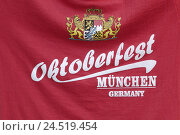 Купить «Greeting from the Oktoberfest, T-shirt, Bedruckung, coat arms, red, detail, stroke, Oktoberfest, Munich, Bavaria, Germany,», фото № 24519454, снято 22 января 2010 г. (c) mauritius images / Фотобанк Лори