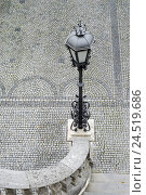 Купить «Lantern, light pole, stairs, steps, handrail, pavement, grey,», фото № 24519686, снято 22 июля 2019 г. (c) mauritius images / Фотобанк Лори