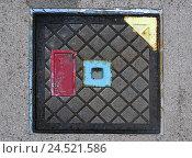 Купить «Street, duct cover, from above,», фото № 24521586, снято 15 мая 2009 г. (c) mauritius images / Фотобанк Лори