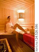 Купить «Woman, young, sauna,», фото № 24526586, снято 23 февраля 2009 г. (c) mauritius images / Фотобанк Лори