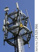 Купить «Mobile radio mast with directional radio aerials, directional radio, UMTS, Wireless, radiation, electronic smog, danger sign, mobile phone, all over the...», фото № 24529966, снято 31 марта 2010 г. (c) mauritius images / Фотобанк Лори