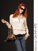 Купить «Woman, stand young, red-haired, sunglasses, handbag, model released, people, whole bodies, Fashion, fashion, glasses, jeans, blouse, long-haired, cool, careless, casually, studio, smile, pose, pouch,», фото № 24541470, снято 5 сентября 2008 г. (c) mauritius images / Фотобанк Лори
