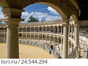 Купить «Spain, province Malaga, Andalusia, Ronda, bullfight arena, inside,», фото № 24544294, снято 15 сентября 2009 г. (c) mauritius images / Фотобанк Лори