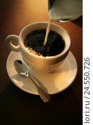 Купить «Coffee cup, coffee, milk, pour in, pot, detail, spoon, freshly, brewed up, brown, brühfrisch, white, cup, drink, liquid, hot drink, caffeine, caffeine-containing, single cream,», фото № 24550726, снято 2 июня 2008 г. (c) mauritius images / Фотобанк Лори