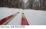 Катание на лыжах в снежный зимний день. Стоковое видео, видеограф Vladimir Botkin / Фотобанк Лори