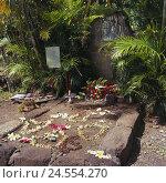 Купить «French Polynesia, Hiva Oa, Atuona, cemetery, tomb, Brel Jacques, tomb, place rest, gravestone, rest, memory, floral decoration, place of interest,», фото № 24554270, снято 13 апреля 2010 г. (c) mauritius images / Фотобанк Лори