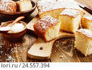 Купить «Манник с кокосовой стружкой на разделочной доске», фото № 24557394, снято 8 декабря 2016 г. (c) Надежда Мишкова / Фотобанк Лори