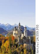 Купить «Germany, Bavaria, Allgäu, Neuschwanstein Castle,», фото № 24559910, снято 6 сентября 2018 г. (c) mauritius images / Фотобанк Лори