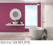 Купить «Интерьер ванной с видом на море, 3D-рендеринг», иллюстрация № 24561010 (c) Hemul / Фотобанк Лори