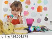 Купить «Girls, smile, paint Easter eggs, concentration, girl, eggs, brightly, brush, mug, Easter eggs, eggcups, box paints, portrait, soft toy, Easter bunny,», фото № 24564878, снято 2 февраля 2011 г. (c) mauritius images / Фотобанк Лори