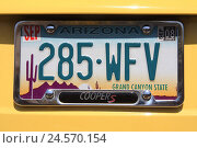 Купить «The USA, Arizona, number plate, close up, North America, vehicle, car, autosign, registration number, Grand canyon State, scenery, mountains, cactus, typically for country, brightly, figures, letters,», фото № 24570154, снято 21 июля 2008 г. (c) mauritius images / Фотобанк Лори