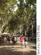 Купить «Spain, Catalonia, Barcelona, La Rambla, passer-by,», фото № 24575962, снято 20 октября 2008 г. (c) mauritius images / Фотобанк Лори