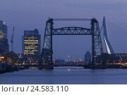 Купить «The Netherlands, Rotterdam, hoist de Hef, Erasmusbrücke, high rises, evening,», фото № 24583110, снято 22 мая 2018 г. (c) mauritius images / Фотобанк Лори