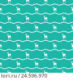 Бирюзовый бесшовный фон с оленями. Стоковая иллюстрация, иллюстратор Алла Ринчино / Фотобанк Лори
