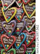 Купить «Gingerbread hearts, different,», фото № 24597562, снято 22 августа 2018 г. (c) mauritius images / Фотобанк Лори