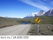 Купить «Chile, Patagonia, Torres-del-Paine-Nationalpark, road sign, warning, winding,», фото № 24600550, снято 6 ноября 2007 г. (c) mauritius images / Фотобанк Лори