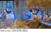 Купить «Poultry meat during production process», видеоролик № 24639902, снято 30 сентября 2016 г. (c) Илья Насакин / Фотобанк Лори