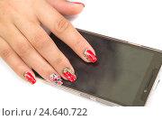 Женский пальцы и смартфон. Стоковое фото, фотограф Виктор Хван / Фотобанк Лори