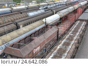 Купить «Freight trains,», фото № 24642086, снято 27 апреля 2018 г. (c) mauritius images / Фотобанк Лори