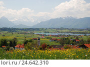 Купить «Germany, Bavaria, Werdenfels, Riegsee, spring, view, South Germany, Upper Bavaria, alpine upland, mountains, mountains, alps, clouds, houses, place, church, steeple, lake,», фото № 24642310, снято 2 декабря 2008 г. (c) mauritius images / Фотобанк Лори
