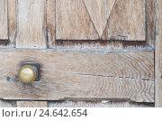 Купить «Wooden door with brass handle, close-up, detail,», фото № 24642654, снято 17 июня 2019 г. (c) mauritius images / Фотобанк Лори