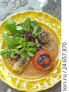 Купить «Plate, hors-d'oeuvre, salad, vegetables,», фото № 24657870, снято 24 апреля 2018 г. (c) mauritius images / Фотобанк Лори