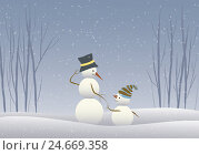 Купить «Illustration, wood, snowmen, two, snowing, graphics, Christmas, for Christmas, snow figures, largely, small, family, friends, together, together, smile...», фото № 24669358, снято 10 января 2019 г. (c) mauritius images / Фотобанк Лори