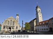Купить «Marketplace, Neptune's well, Stephanskirche, Lindau, Bavaria, Germany,», фото № 24669818, снято 23 марта 2019 г. (c) mauritius images / Фотобанк Лори