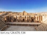 Large South Theatre - in antique town Jerash, Jordan (2016 год). Стоковое фото, фотограф Наталья Волкова / Фотобанк Лори