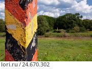 Купить «Germany, Saxony, Or Neisse cycle track, boundary post to the Polish margin,», фото № 24670302, снято 19 августа 2018 г. (c) mauritius images / Фотобанк Лори