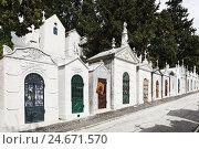 Купить «Historical cemetery, tombs, funerary chambers, Cemiterio dos Prazeres, Prazeres, Lisbon, Portugal,», фото № 24671570, снято 20 августа 2018 г. (c) mauritius images / Фотобанк Лори