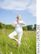 Купить «Senior, yoga, meadow,», фото № 24675202, снято 18 сентября 2018 г. (c) mauritius images / Фотобанк Лори