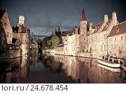 Купить «Rozenhoedkaai, bell tower in the background, Bruges, Belgium, Europe,», фото № 24678454, снято 21 августа 2018 г. (c) mauritius images / Фотобанк Лори