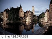 Купить «Rozenhoedkaai in the evening, Brugge, Belgium, Europe,», фото № 24679638, снято 21 августа 2018 г. (c) mauritius images / Фотобанк Лори