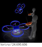 Купить «3d-люди управляют квадрокоптерами с фотокамерами на черном фоне», иллюстрация № 24690606 (c) Guru3d / Фотобанк Лори