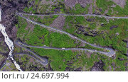 Купить «Troll's Path Trollstigen or Trollstigveien winding mountain road.», видеоролик № 24697994, снято 10 октября 2016 г. (c) Андрей Армягов / Фотобанк Лори