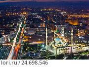 Грозный. Центральная мечеть Сердце Чечни имени Ахмата Кадырова. Вид с крыши, эксклюзивное фото № 24698546, снято 20 сентября 2016 г. (c) Литвяк Игорь / Фотобанк Лори