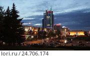 Купить «Praspiekt Pieramozcau, Minsk», видеоролик № 24706174, снято 3 сентября 2016 г. (c) Яков Филимонов / Фотобанк Лори