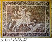 Купить «Охотник на лошади-пегасе с копьём. Древнее мозаичное панно на стене. Археологический музей в Родосе, Греция.», фото № 24706234, снято 23 августа 2015 г. (c) Устенко Владимир Александрович / Фотобанк Лори
