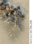 Цифровая акварельная живопись Gordes, село во Франции. Стоковая иллюстрация, иллюстратор Alexander Tihonovs / Фотобанк Лори